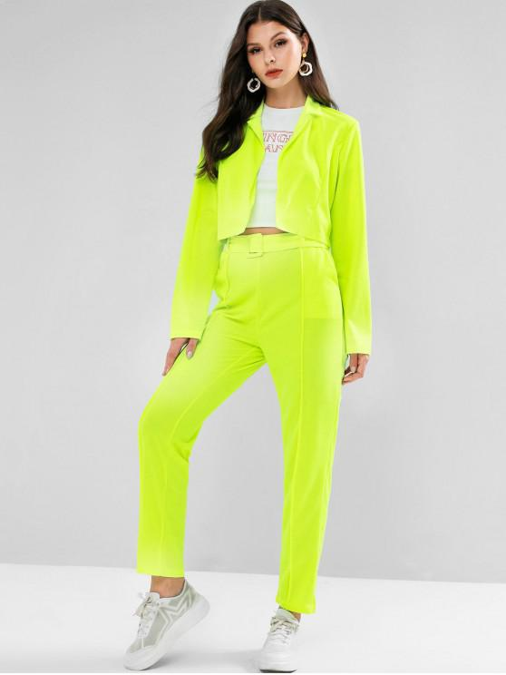 womens Neon Lapel Open Front Belted Pants Set - GREEN YELLOW S