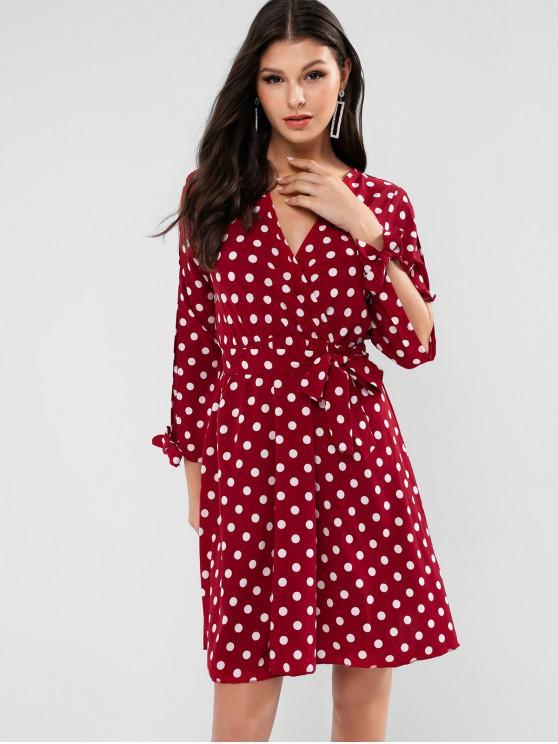 fancy Split Sleeve Belted Polka Dot Mini Dress - RED L