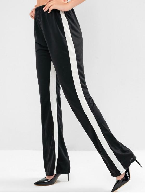 chic Two Tone Wide Leg High Waisted Flare Pants - BLACK M