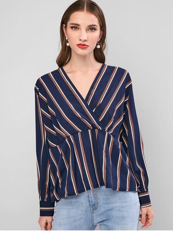 womens Striped Surplice Long Sleeve Blouse - DEEP BLUE L