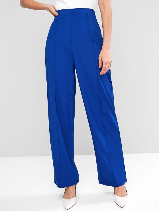 new High Waisted Side Zip Wide Leg Pants - BLUE S