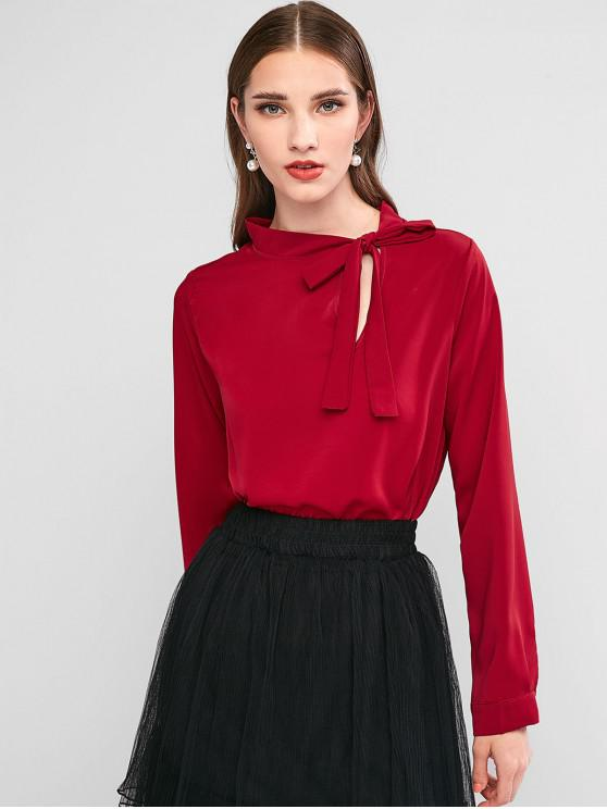 hot Bow Tie Crew Neck Long Sleeve Blouse - RED WINE S