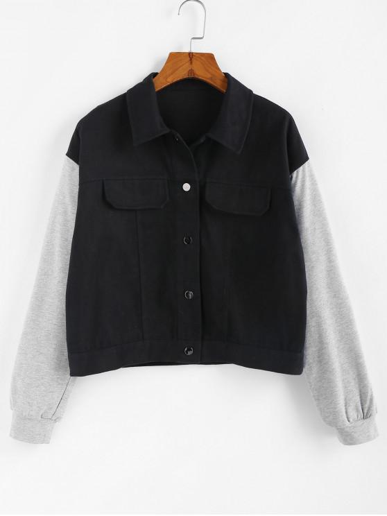 hot ZAFUL Two Tone Drop Shoulder Single Breasted Jacket - BLACK M