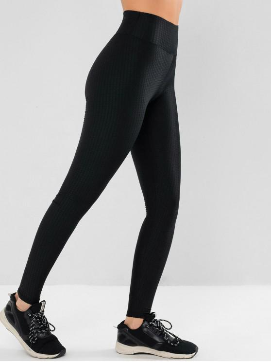 fancy Scrunch Butt Textured Track Leggings - BLACK XS