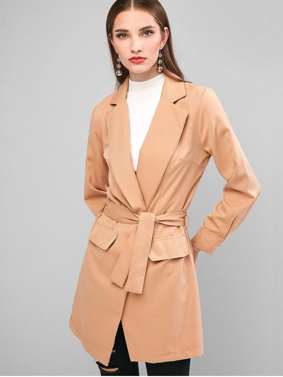 fancy Notch Lapel Belted Tunic Trench Coat - BROWN M