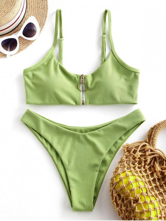 unique ZAFUL Ribbed Ring Zip Up Bikini Swimsuit - GREEN PEAS L