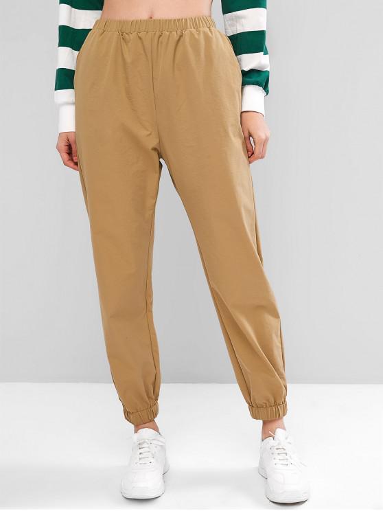 fashion ZAFUL Elastic Waist Jogger Pants - SAND XL