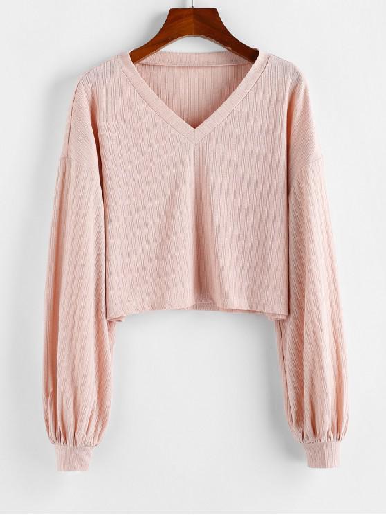 best ZAFUL Lantern Sleeve Drop Shoulder Knitwear - ROSE L