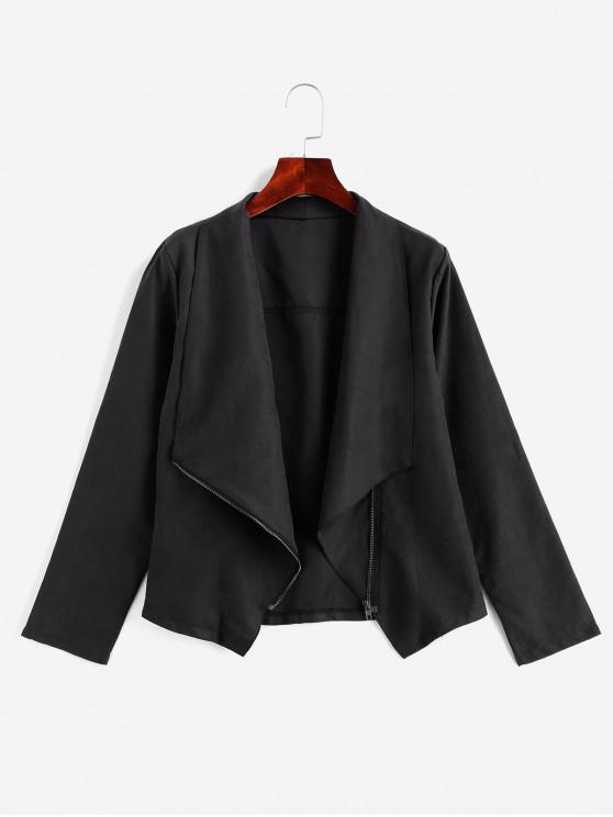 best Asymmetrical Zip Turndown Collar Jacket - BLACK M