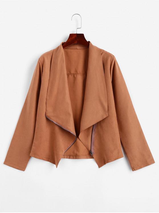 fashion Asymmetrical Zip Turndown Collar Jacket - BROWN S