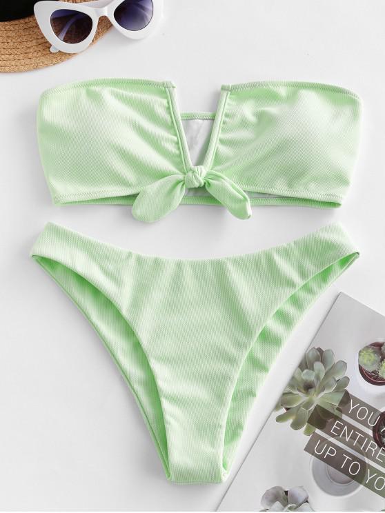 lady ZAFUL V Wired Tied Textured Bandeau Bikini Swimsuit - MINT GREEN S