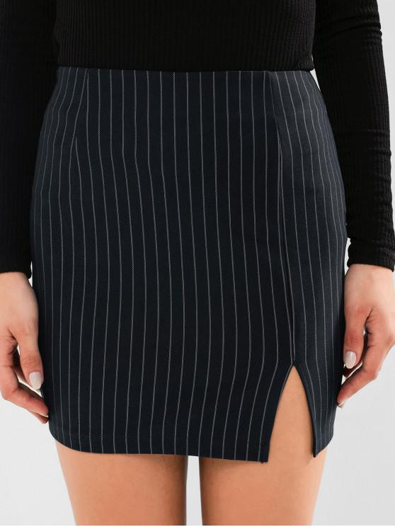 unique ZAFUL Striped Slit Bodycon Skirt - CADETBLUE M
