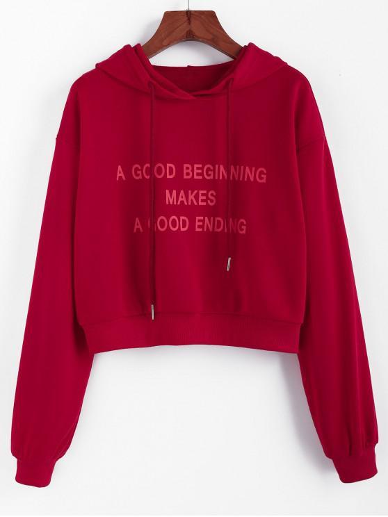 fashion ZAFUL Slogan Print Drop Shoulder Drawstring Hoodie - RED WINE L