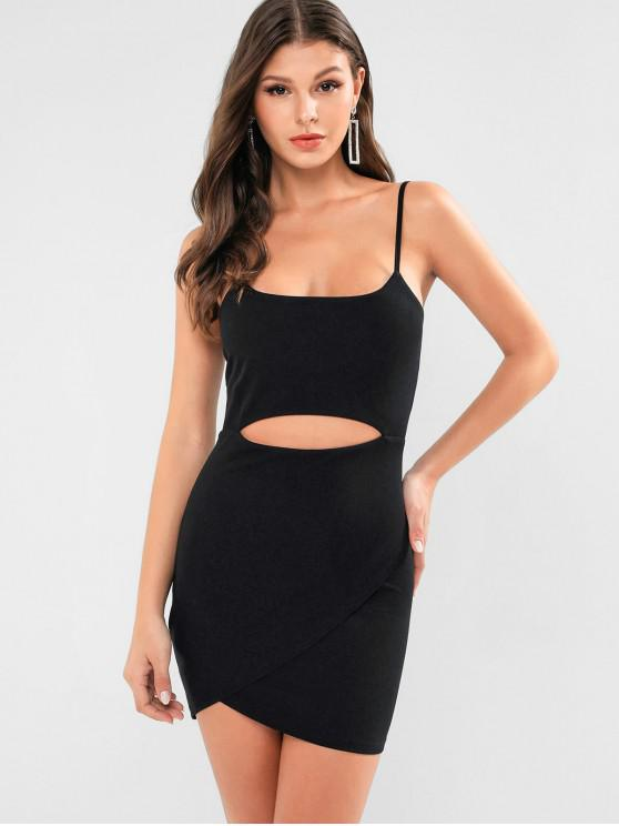 latest ZAFUL Cut Out Solid Bodycon Cami Dress - BLACK S