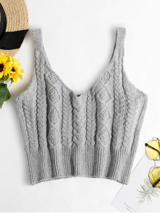 sale ZAFUL Cable Braided Knit Crop Sweater Tank Top - GRAY GOOSE L