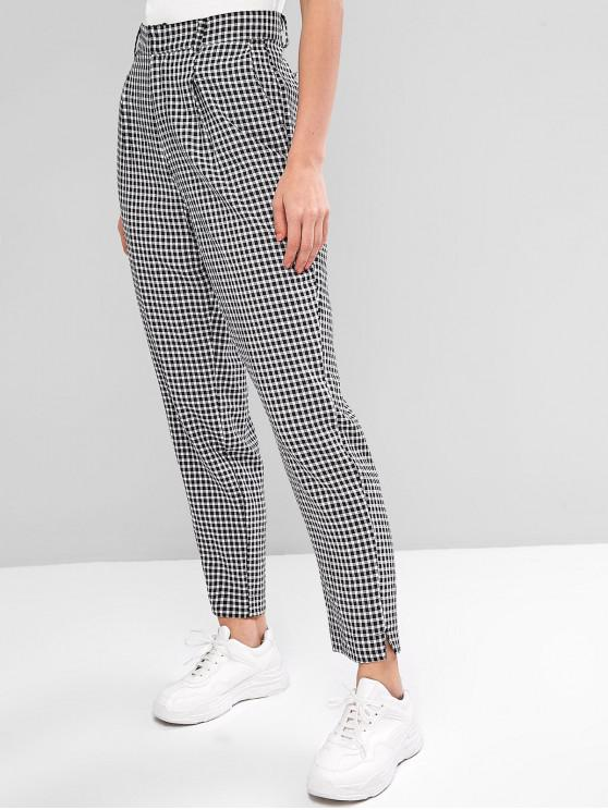 trendy Zipper Fly Gingham Slits Pants - BLACK M
