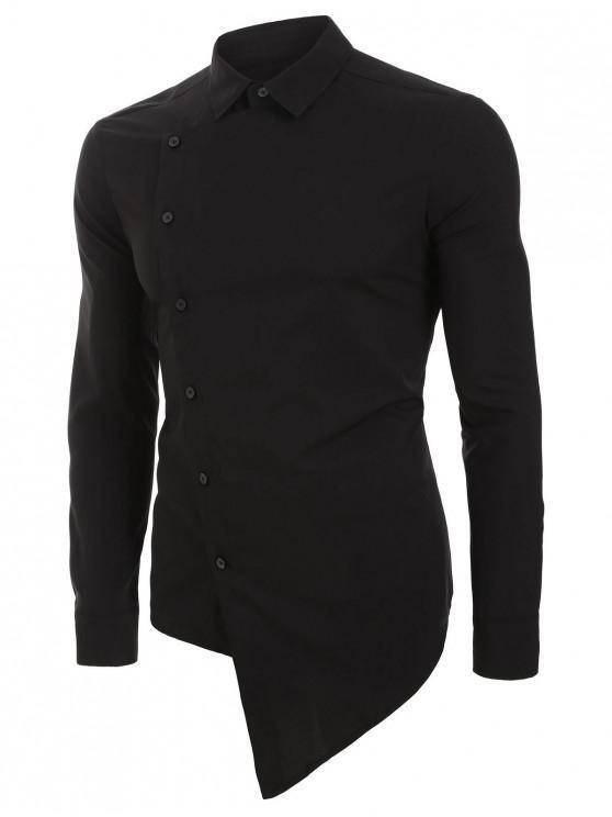 chic Asymmetric Overlap Button Up Long Sleeve Shirt - BLACK 3XL