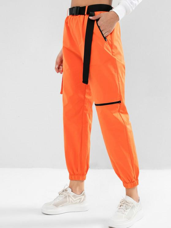 lady ZAFUL Zipper Pockets Belted Windbreaker Jogger Pants - PUMPKIN ORANGE S
