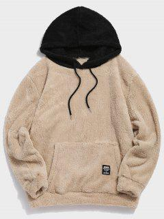 Colorblock Splicing Drawstring Fluffy Hoodie - Light Khaki M