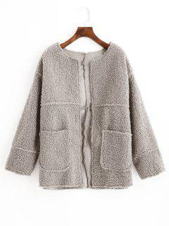 Open Front Solid Patched Pockets Teddy Jacket - Gray L