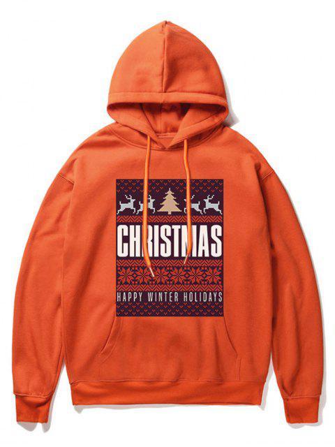shop Snowflake Letter Printed Christmas Hoodie - ORANGE L Mobile