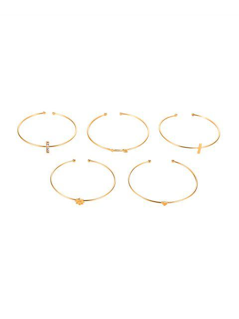 new 5Pcs Arrow Heart Cuff Bracelet Set - GOLD  Mobile