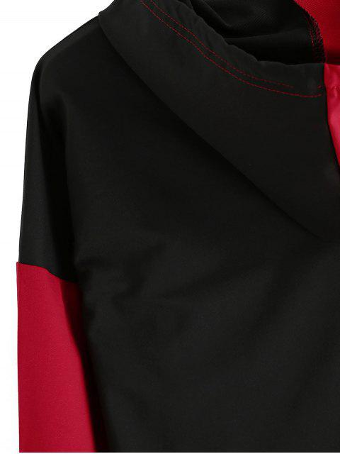 Empalmado de color impresa letra del lazo con capucha - Rojo L Mobile