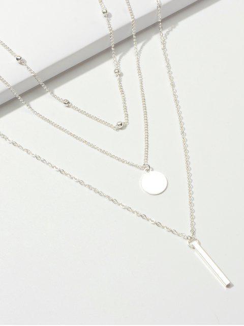 Collier Géométrique Pendant 3 Pièces - Argent  Mobile