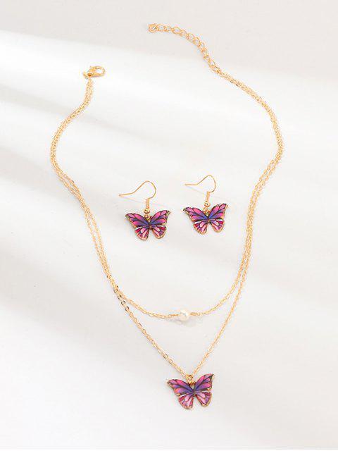 Подвеска бабочки Многослойное Ожерелье Серьги в сборе - Фиолетовый  Mobile