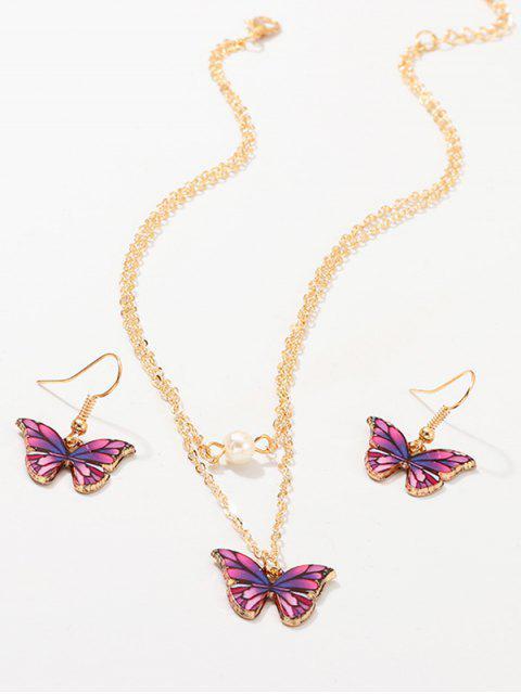 Ensemble de Boucles d'Oreilles et de Collier Superposé Papillon - Pourpre   Mobile