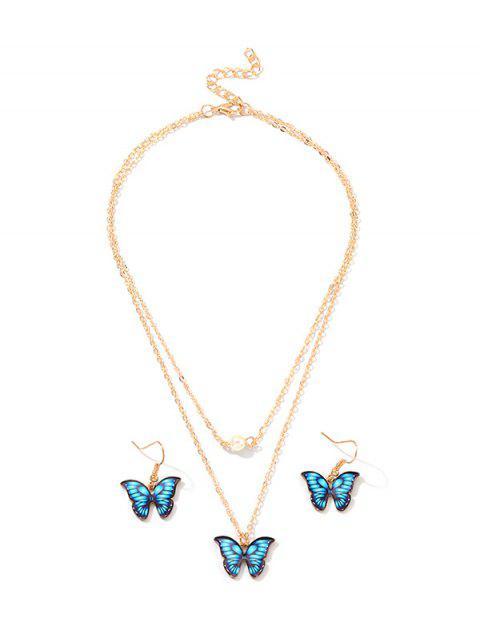 Подвеска бабочки Многослойное Ожерелье Серьги в сборе - Синий  Mobile