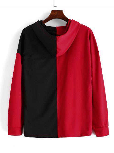 Empalmado de color impresa letra del lazo con capucha - Rojo XL Mobile