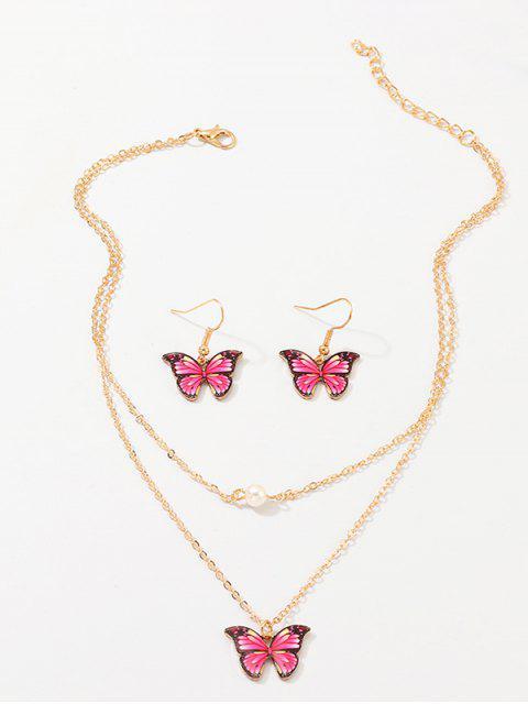 Подвеска бабочки Многослойное Ожерелье Серьги в сборе - Розово-красный  Mobile