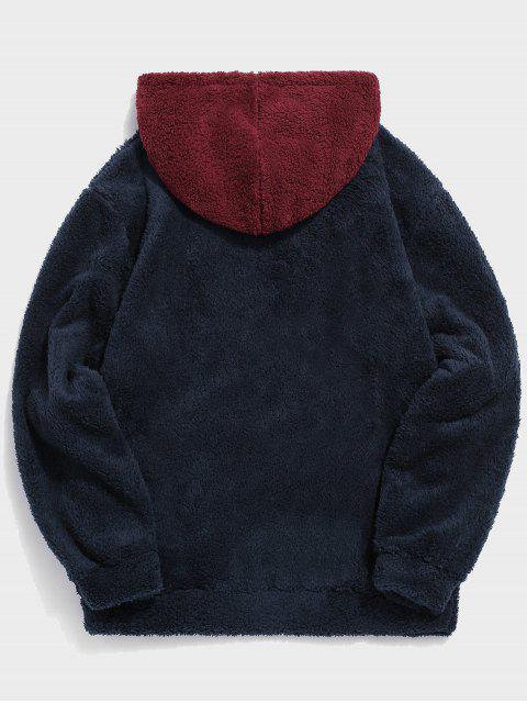 Colorblock empalme con cordón mullido con capucha - Rojo 2XL Mobile