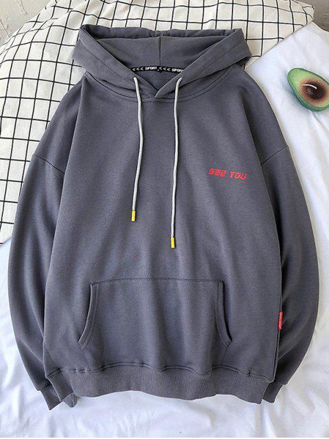 Patrón de la letra ocasional con capucha con cordón - Gris Oscuro XL Mobile