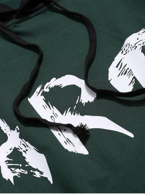 ZAFUL arte de la letra impresa Colorblock empalme con capucha con cordón - Multicolor M Mobile