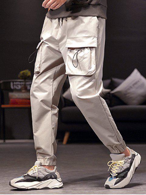 固態切換翼口袋抽繩短褲慢跑者 - 淺灰 M Mobile