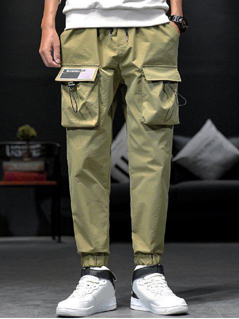shop Solid Toggle Flap Pocket Drawstring Jogger Pants - ARMY GREEN S Mobile