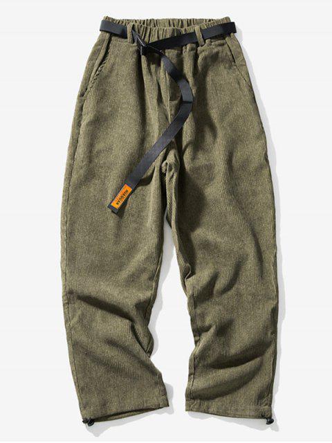 純色鬆緊腰圍休閒褲 - 軍綠色 2XL Mobile