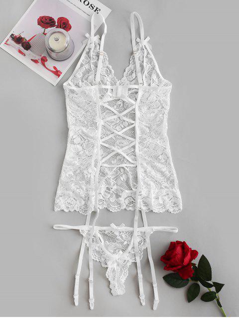 shop Bowknot Sheer Lace Garter Top Set - WHITE S Mobile