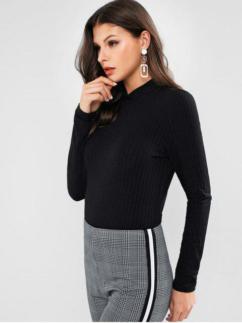 outfits ZAFUL Mock Neck Ribbed Basic Tee - BLACK L Mobile