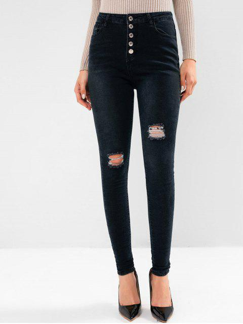 latest Button Fly Ripped Pocket Skinny Jeans - BLACK L Mobile