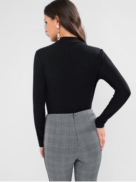 fashion ZAFUL Mock Neck Ribbed Basic Tee - BLACK XL Mobile