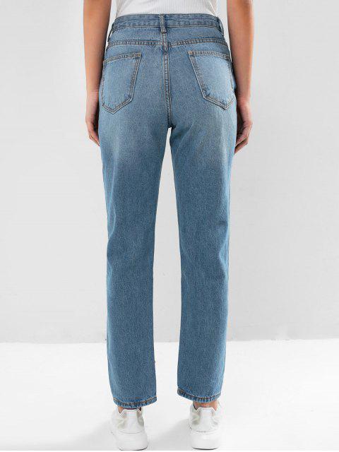 Pantalón Lápiz Mezclilla Abotonado - Azul Denim L Mobile