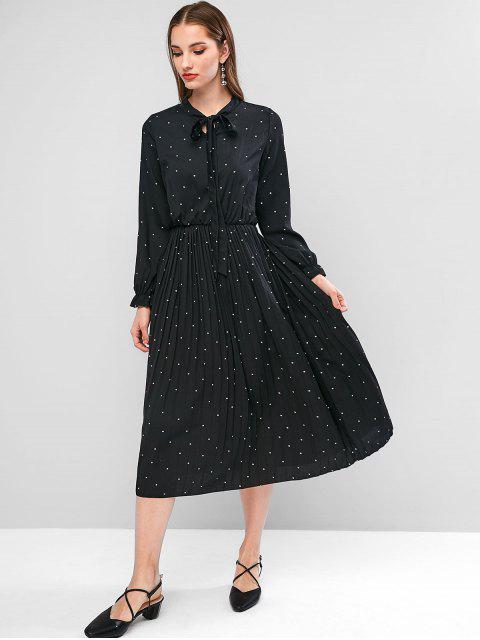 Robe Plissée à Col Noué à Pois - Noir XL Mobile