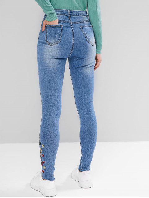 fashion Floral Embroidered Ripped Frayed Hem Jeans - JEANS BLUE M Mobile