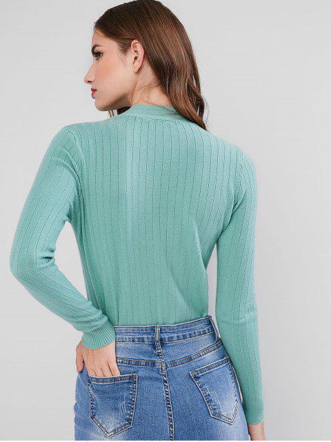 Fliege V-Ausschnitt Scheinknopf Pullover - Meergrün Eine Größe Mobile