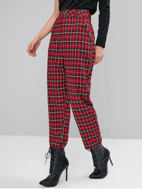 高腰外套格紋直筒褲 - 紅 M Mobile