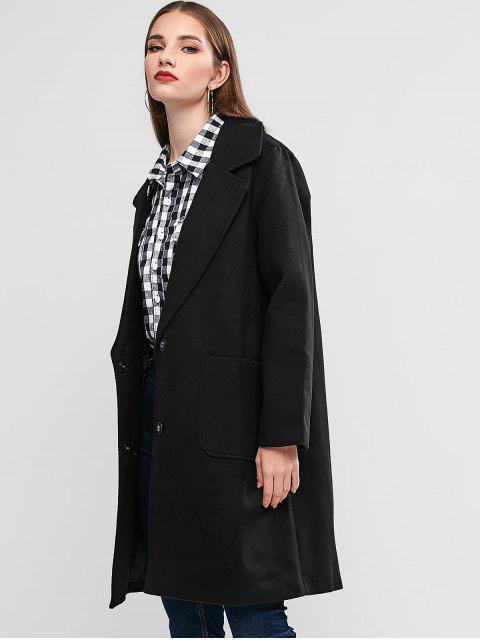羊毛混紡翻領口袋外套延繩釣 - 黑色 L Mobile