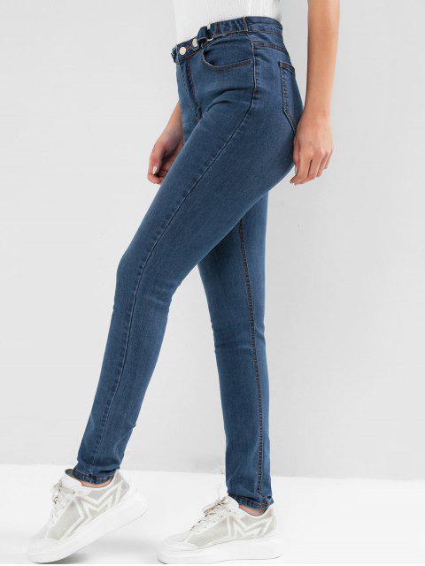 高腰口袋洗黑緊身牛仔褲 - 牛仔布深藍色 S Mobile